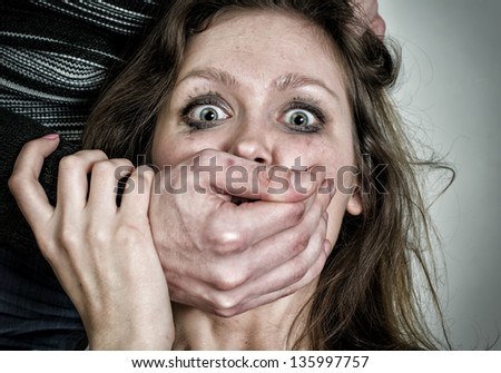 Portrait of scared woman with tears. Violence concept - stock photo