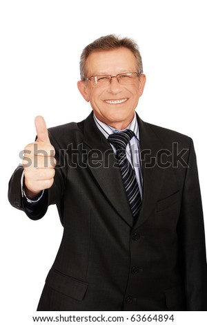 portrait of senior handsome businessman on white showing thumb up
