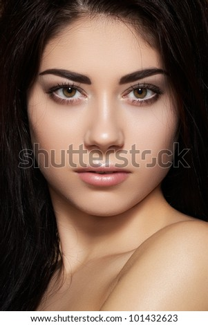 Portrait of sexy caucasian young woman. Natural spa beauty with pure skin. Beautiful model with natural make-up, clean skin and romantic hairstyle