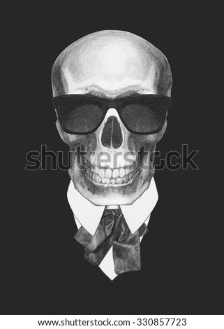 Portrait of Skull in suit. Hand drawn illustration.
