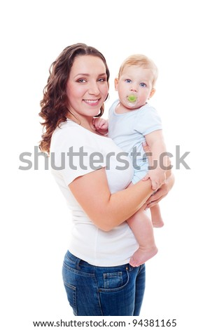 portrait of smiley mother holding her son on hands over white background