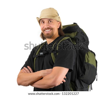 portrait of smiling backpacker, over white background