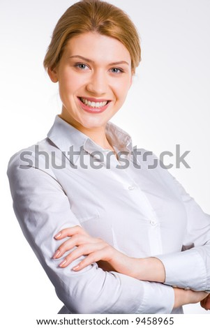 Portrait of smiling beautiful business lady isolated on white background