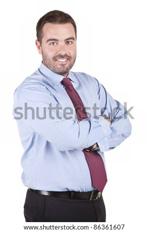 Portrait of smiling business man, isolated on white background
