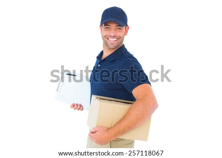 Portrait of smiling delivery man with cardboard box and clipboard on white background