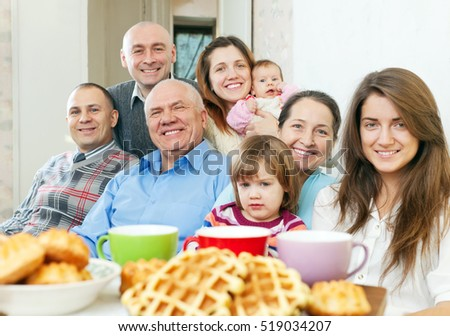 Portrait of smiling joyful multigeneration family  in home