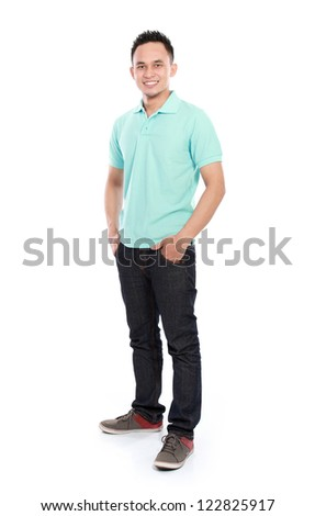 portrait of smiling young asian man isolated over white background