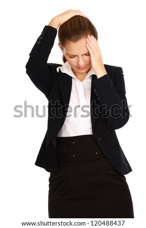 Portrait of stressed business woman having head pain on white background