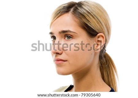 Portrait of the beautiful woman. Looking to the left side. Face without cosmetic