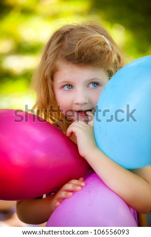 portrait of the little girl in birthday