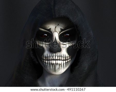Portrait of the reaper dressed in a black hood, 3D rendering. Dark background.