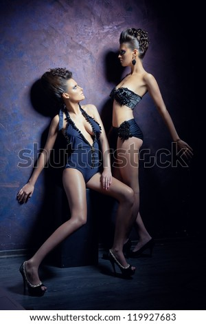Portrait of two young women of models