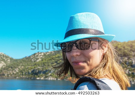 Portrait of woman on yacht at the sea, Turkey