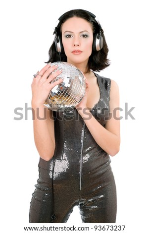 Portrait of woman with a mirror ball in her hands