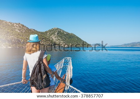 Portrait of woman with her son  on yacht at the sea, Turkey