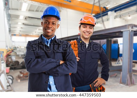 Portrait of workers in a factory
