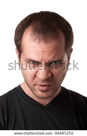 portrait of young angry man  isolated on white background