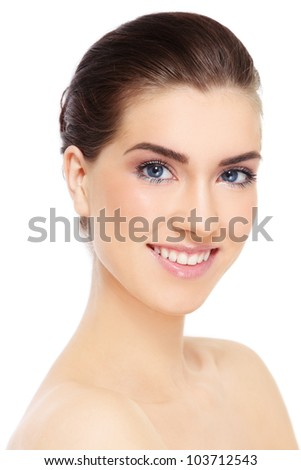 Portrait of young beautiful smiling healthy woman over white background