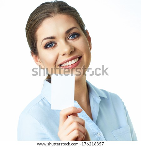 Portrait of young business woman isolated on white background. Happy girl.