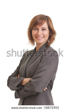 Portrait of young business woman with arms crossed