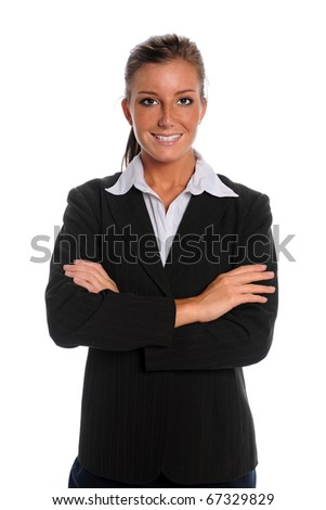 Portrait of young businesswoman with arms crossed isolated over white background