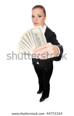 portrait of young businesswoman with pile of money