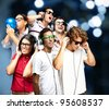 portrait of young people having a party - stock photo