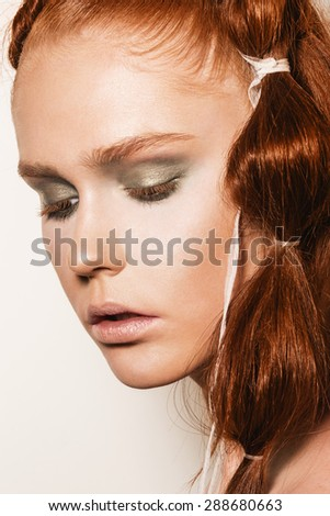 Portrait Close Half Face Young Beautiful Stock Photo 108289811 Shutterstock