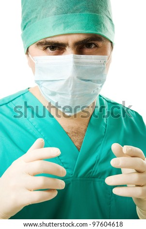 Portrait surgeon man on a white background.