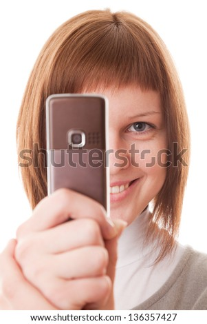 Portrait woman and mobile phone, isolated on a white background