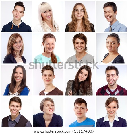 Portraits of men and women smiling and laughing stock photo