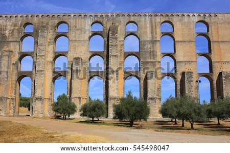 Portugal, Alentejo region, Elvas. The 16th Century Amoreira Aqueduct and olive grove. The Garrison Border Town of Elvas and its Fortifications is a UNESCO World Heritage site.