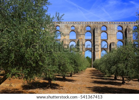 Portugal, Alentejo region, Elvas. The 16th Century Amoreira Aqueduct with an olive grove in the foreground. The Garrison Border Town of Elvas and its Fortifications is a UNESCO World Heritage site.