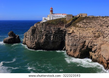 "Portugal Algarve Region Sagres Lighthouse at Cape Saint Vincent - ""Cabo Sao Vicente"" - Continental Europe's most South-western point."