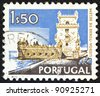 "PORTUGAL - CIRCA 1972: A stamp printed in Portugal from the ""Cities and landscapes"" issue shows Belem Tower, Lisbon,circa 1972. - stock photo"