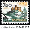 PORTUGAL - CIRCA 1974: a stamp printed in the Portugal shows Almourol Castle, Historical Building, circa 1974 - stock photo