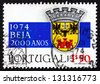 PORTUGAL - CIRCA 1972: a stamp printed in the Portugal shows Coat of Arms of Beja, 2000th Anniversary of City of Beja, circa 1972 - stock photo