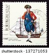 PORTUGAL - CIRCA 1983: a stamp printed in the Portugal shows Midshipman, 1782, Vasco da Gama, Naval Uniforms and Ships, circa 1983 - stock photo