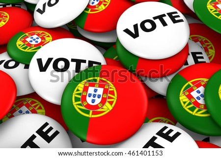 Portugal Elections Concept - Portuguese Flag and Vote Badges 3D Illustration