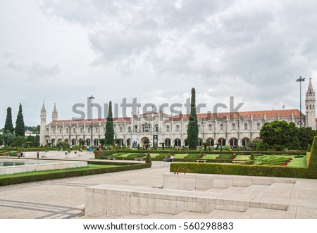 Portugal, Lisbon - OCTOBER 16, 2016: View of Jeronimos monastery, it was founded in 1450, UNESCO World Heritage Site