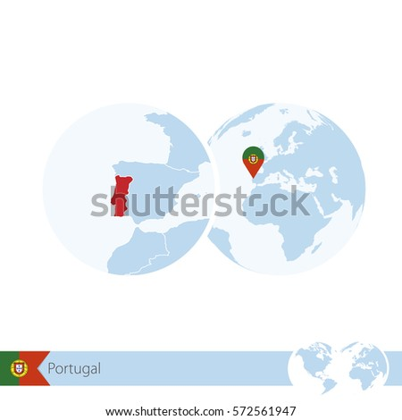 World Map Magnifying On Portugal Blue Stock Vector - Portugal globe map
