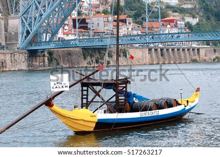 Portugal, Porto - OCTOBER 13, 2016: Rabelo boats have traditionally been used for the transport of port on the Douro River