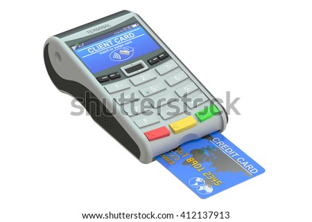 POS terminal and credit card, 3D rendering