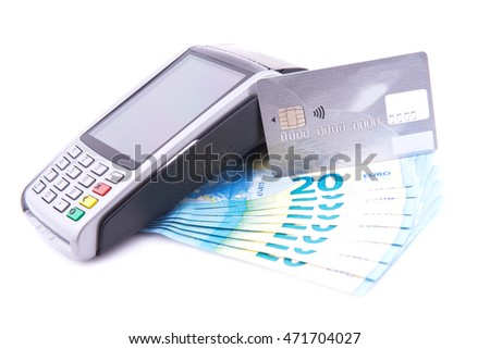 POS with credit card and twenty euro bills on white background