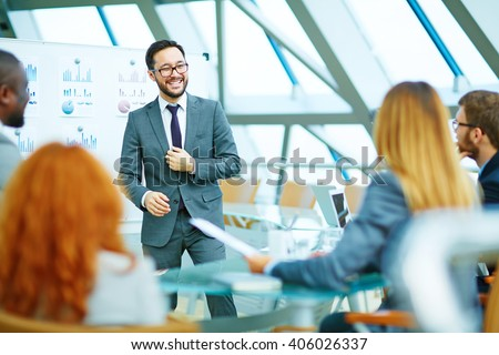 Positive CEO holding a meeting