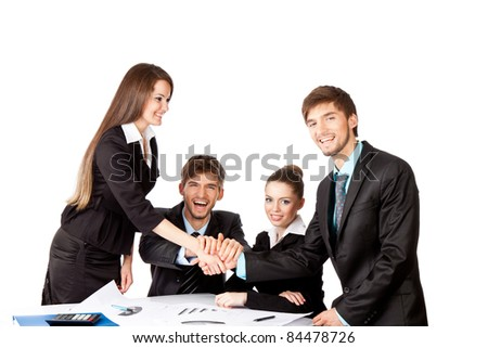 positive smile young business people handshake white background
