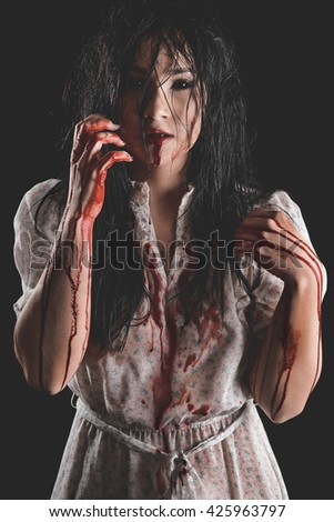 Possessed Woman with bloody body