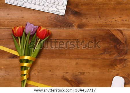 Post blog social media 8 march. View from above with copy space. Banner template layout mockup for woman day. Wooden table, top view on workplace. Tulips at  Desk. Mother day.