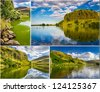 Postcard, lake in sunny Edinburgh - stock photo
