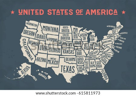 Poster Map United States America State Stock Vector - Map of united states